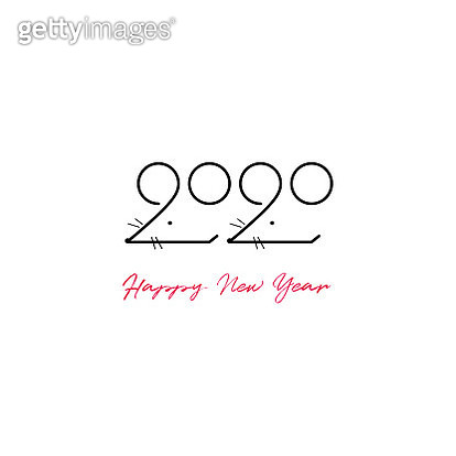 New Year 2020 Two Illustration. Original Artwork Vector Illustration. This square composition can be a postcard, invitation, poster or flayer. - gettyimageskorea