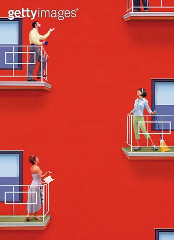 Neighbors standing on balconys of apartment, talking - gettyimageskorea
