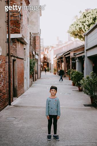 Portrait of cute preschool mixed race girl on street of Taiwan - gettyimageskorea