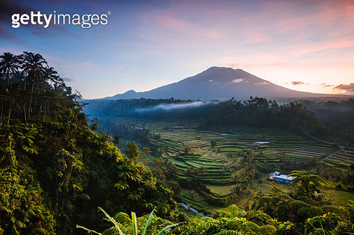 Mount Agung volcano at sunset, Bali, Indonesia - gettyimageskorea