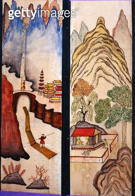 <b>Title</b> : Two panels of an eight fold screen (natural pigments on paper)<br><b>Medium</b> : natural pigments on paper<br><b>Location</b> : Gahoe Museum, Jongno-gu, South Korea<br> - gettyimageskorea