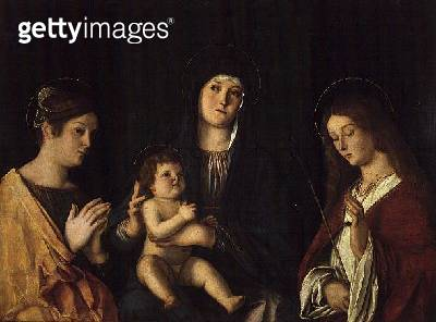 <b>Title</b> : The Virgin and Child with St. Catherine and St. Ursula, c.1490 (oil on panel)<br><b>Medium</b> : oil on panel<br><b>Location</b> : Prado, Madrid, Spain<br> - gettyimageskorea