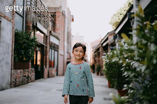Cute preschool mixed race girl on street of Taiwan - gettyimageskorea