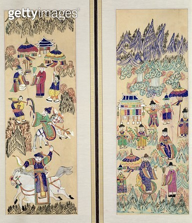 <b>Title</b> : Two panels of an eight fold screen depicting 'Paintings of Shamanism' (natural pigments on paper)<br><b>Medium</b> : natural pigments on paper<br><b>Location</b> : Gahoe Museum, Jongno-gu, South Korea<br> - gettyimageskorea