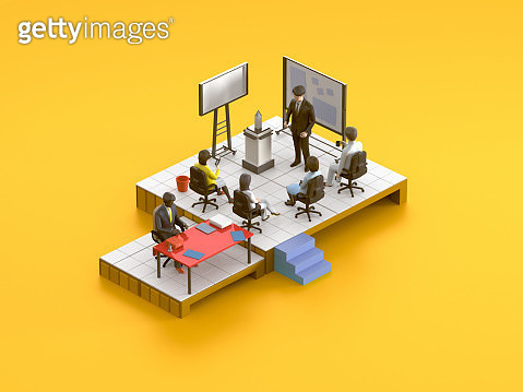 Meeting room isometric scene on orange background - gettyimageskorea