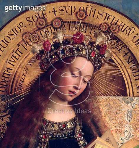The Ghent Altarpiece, The Virgin Mary, 1432 (oil on panel) St. Bavo Cathedral, Ghent, Belgium - gettyimageskorea