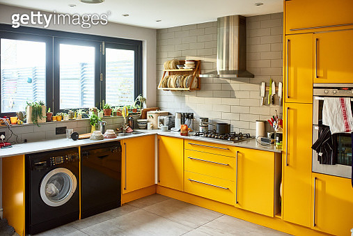 Modern mustard yellow domestic kitchen - gettyimageskorea