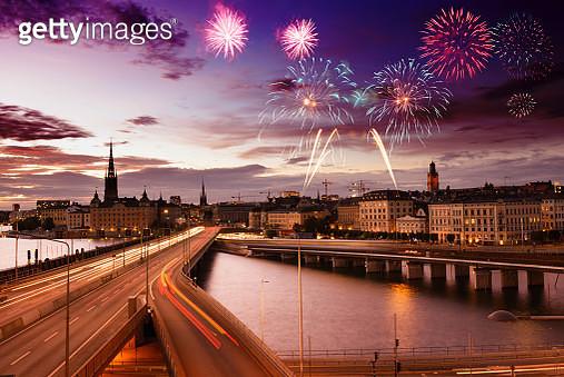 Fireworks over Stockholm, Sweden, Europe. - gettyimageskorea