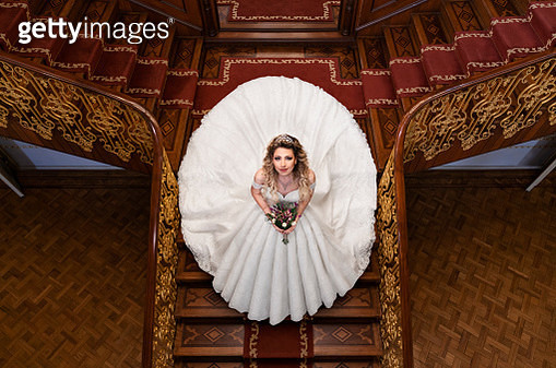Bride, Wedding, Wedding Dress, Palace, Staircase - gettyimageskorea