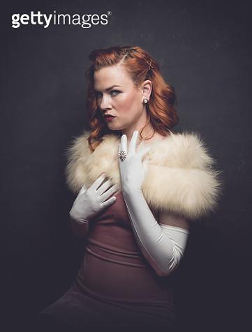Model wearing fur wrap - gettyimageskorea