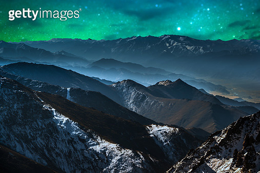 Panorama of Starry night in Norther part of India - gettyimageskorea