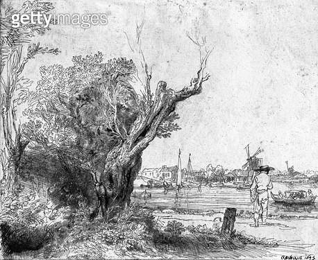 <b>Title</b> : View of Omval, near Amsterdam, 1645 (etching) (b/w photo)<br><b>Medium</b> : etching<br><b>Location</b> : Musee de la Ville de Paris, Musee du Petit-Palais, France<br> - gettyimageskorea