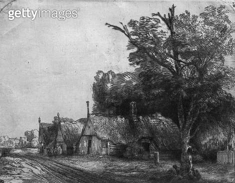<b>Title</b> : Landscape with Three Cottages, 1650 (etching) (b/w photo)<br><b>Medium</b> : etching<br><b>Location</b> : Musee de la Ville de Paris, Musee du Petit-Palais, France<br> - gettyimageskorea