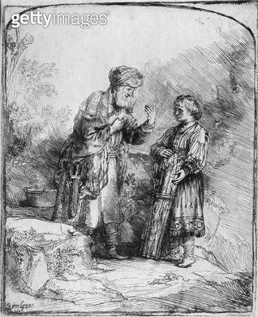 <b>Title</b> : Abraham and Isaac, 1645 (etching) (b/w photo)<br><b>Medium</b> : etching<br><b>Location</b> : Musee de la Ville de Paris, Musee du Petit-Palais, France<br> - gettyimageskorea