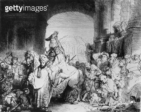 <b>Title</b> : The Triumph of Mordecai, c.1640 (etching) (b/w photo)<br><b>Medium</b> : etching<br><b>Location</b> : Musee de la Ville de Paris, Musee du Petit-Palais, France<br> - gettyimageskorea