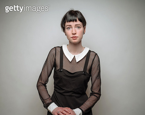Young woman in vintage black dress - gettyimageskorea
