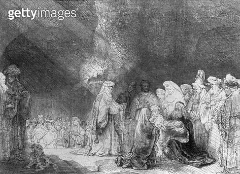 <b>Title</b> : Presentation in the Temple (etching) (b/w photo)<br><b>Medium</b> : etching<br><b>Location</b> : Musee de la Ville de Paris, Musee du Petit-Palais, France<br> - gettyimageskorea
