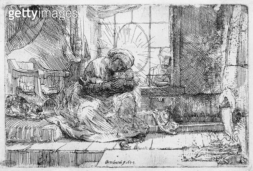 <b>Title</b> : The Holy Family with a cat, 1654 (etching) (b/w photo)<br><b>Medium</b> : etching<br><b>Location</b> : Musee de la Ville de Paris, Musee du Petit-Palais, France<br> - gettyimageskorea