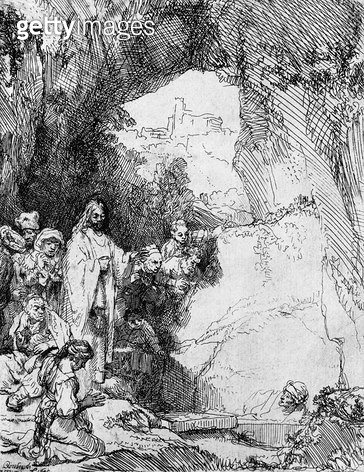 <b>Title</b> : The Small Raising of Lazarus, 1644 (etching) (b/w photo)<br><b>Medium</b> : etching<br><b>Location</b> : Musee de la Ville de Paris, Musee du Petit-Palais, France<br> - gettyimageskorea
