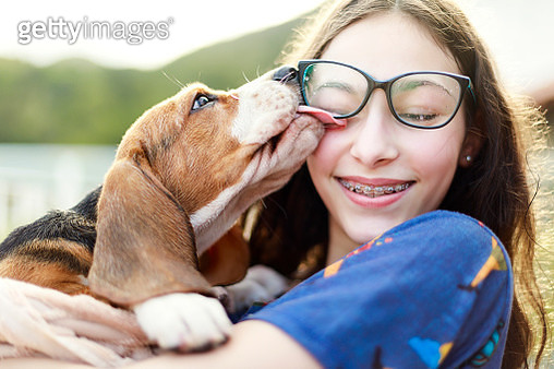 A DSLR Canon photo of a young girl playing with the dog while giving him a bath. - gettyimageskorea