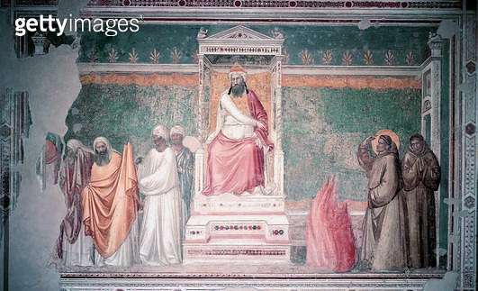 <b>Title</b> : Trial by Fire of St. Francis of Assisi before the Sultan of Egypt, from the Bardi Chapel, c.1320 (fresco)Additional InfoSaint Fr<br><b>Medium</b> : <br><b>Location</b> : Santa Croce, Florence, Italy<br> - gettyimageskorea