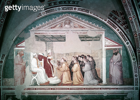 <b>Title</b> : Pope Innocent III (1160-1216) Approving the Rule of St. Francis, from the Bardi Chapel, c.1320 (fresco)<br><b>Medium</b> : <br><b>Location</b> : Santa Croce, Florence, Italy<br> - gettyimageskorea