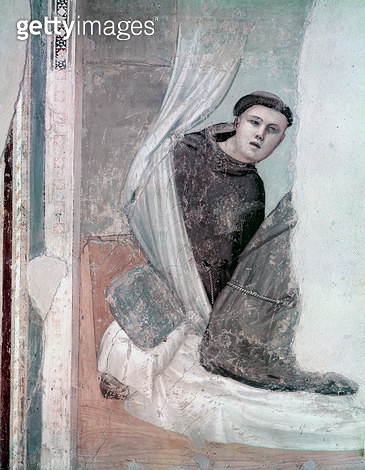 <b>Title</b> : Monk, detail from the Life of St. Francis cycle, Bardi Chapel, c.1340 (fresco)<br><b>Medium</b> : <br><b>Location</b> : Santa Croce, Florence, Italy<br> - gettyimageskorea