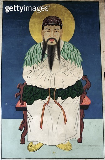 <b>Title</b> : The man god Dangun (natural pigment on paper)Additional Infoaccording to classic legend founded Korea's first large social civil<br><b>Medium</b> : natural pigment on paper<br><b>Location</b> : Gahoe Museum, Jongno-gu, South Korea<br> - gettyimageskorea