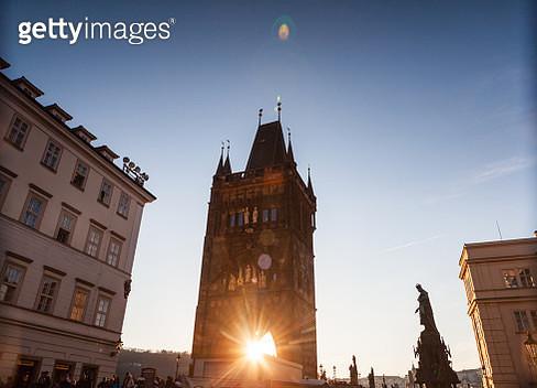 Sunset light illuminating Old Town Bridge Tower in Prague - gettyimageskorea