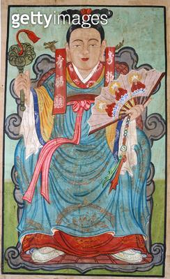 <b>Title</b> : Daesin manura (natural pigment on silk)<br><b>Medium</b> : natural pigment on silk<br><b>Location</b> : Gahoe Museum, Jongno-gu, South Korea<br> - gettyimageskorea