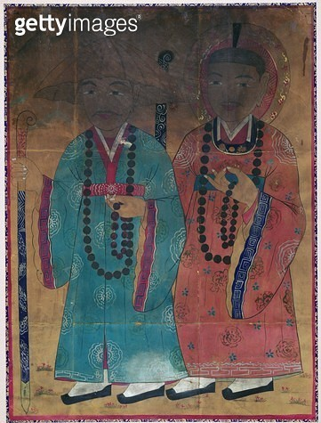 <b>Title</b> : Deasa (natural pigment on silk)<br><b>Medium</b> : natural pigment on silk<br><b>Location</b> : Gahoe Museum, Jongno-gu, South Korea<br> - gettyimageskorea
