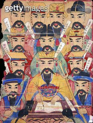 <b>Title</b> : Sipdaewang, ten kings of the underworld (natural pigment on silk)<br><b>Medium</b> : natural pigment on silk<br><b>Location</b> : Gahoe Museum, Jongno-gu, South Korea<br> - gettyimageskorea