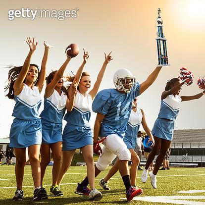 Football Cheerleaders & Player - gettyimageskorea