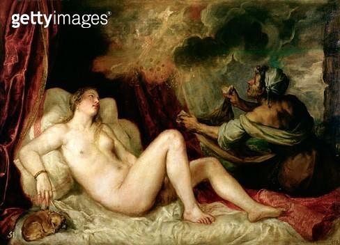 <b>Title</b> : Danae Receiving the Shower of Gold (oil on canvas)<br><b>Medium</b> : oil on canvas<br><b>Location</b> : Prado, Madrid, Spain<br> - gettyimageskorea