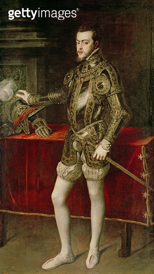 <b>Title</b> : King Philip II (1527-98) 1550 (oil on canvas)<br><b>Medium</b> : oil on canvas<br><b>Location</b> : Prado, Madrid, Spain<br> - gettyimageskorea