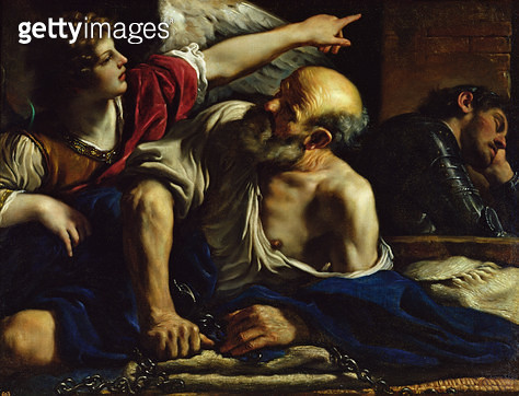 <b>Title</b> : St. Peter Freed by an Angel (oil on canvas)Additional InfoSaint Pierre Libere par un Ange;<br><b>Medium</b> : oil on canvas<br><b>Location</b> : Prado, Madrid, Spain<br> - gettyimageskorea