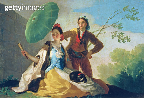 <b>Title</b> : The Parasol, 1777 (oil on canvas)<br><b>Medium</b> : oil on canvas<br><b>Location</b> : Prado, Madrid, Spain<br> - gettyimageskorea