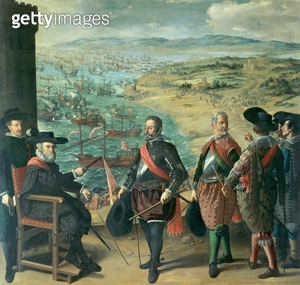 <b>Title</b> : The Defence of Cadiz against the English, 1634 (oil on canvas)<br><b>Medium</b> : oil on canvas<br><b>Location</b> : Prado, Madrid, Spain<br> - gettyimageskorea