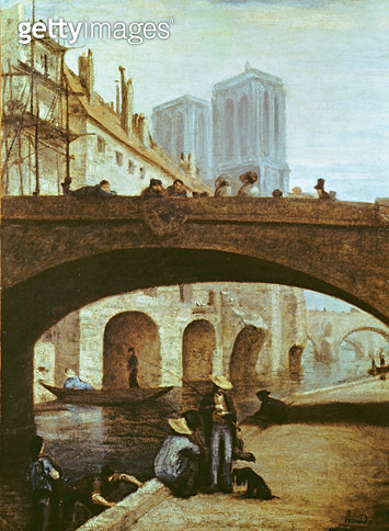 <b>Title</b> : Notre-Dame de Paris (oil on canvas)Additional Infoillustration for novel by Victor Hugo (1802-85);<br><b>Medium</b> : oil on canvas<br><b>Location</b> : Musee Calvet, Avignon, France<br> - gettyimageskorea