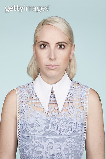 Portrait of a caucasian woman with white hair - gettyimageskorea