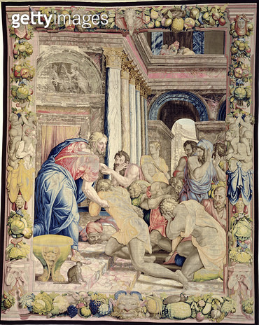 <b>Title</b> : Joseph allows himself to be recognised by his brothers, from the 'Sala dei Dugento', 1546-53 (tapestry)<br><b>Medium</b> : <br><b>Location</b> : Palazzo Vecchio (Palazzo della Signoria) Florence, Italy<br> - gettyimageskorea