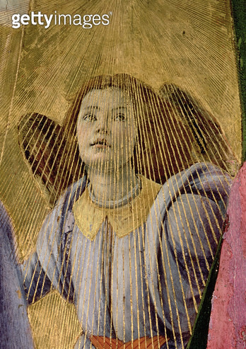 <b>Title</b> : Angel, from the 'Coronation of the Virgin', c.1488-90 (tempera on panel) (detail of 44363)Additional InfoAltarpiece of St Mark;<br><b>Medium</b> : <br><b>Location</b> : Galleria degli Uffizi, Florence, Italy<br> - gettyimageskorea