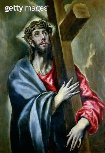 <b>Title</b> : Christ Clasping the Cross, 1600-10 (oil on canvas)<br><b>Medium</b> : oil on canvas<br><b>Location</b> : Prado, Madrid, Spain<br> - gettyimageskorea