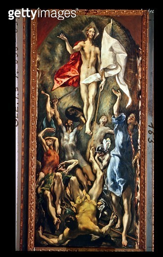 <b>Title</b> : The Resurrection, 1584-94 (oil on canvas)<br><b>Medium</b> : oil on canvas<br><b>Location</b> : Prado, Madrid, Spain<br> - gettyimageskorea