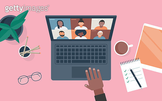 Flat vector illustration of person at desk using computer for video call - gettyimageskorea