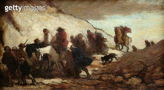 <b>Title</b> : The Fugitives or The Emigrants, c.1849-50 (oil on panel)<br><b>Medium</b> : oil on panel<br><b>Location</b> : Musee de la Ville de Paris, Musee du Petit-Palais, France<br> - gettyimageskorea