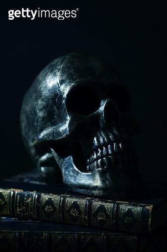 Black metallic skull sculpture on a vintage book - gettyimageskorea
