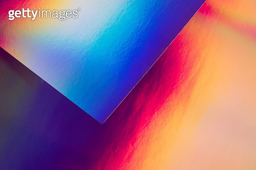 Holographic Paper and Spectrum Pattern Texture Close-up View, Studio Shot. - gettyimageskorea