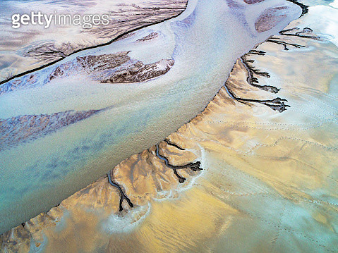Patterns in Riverbeds seen from above, Iceland - gettyimageskorea