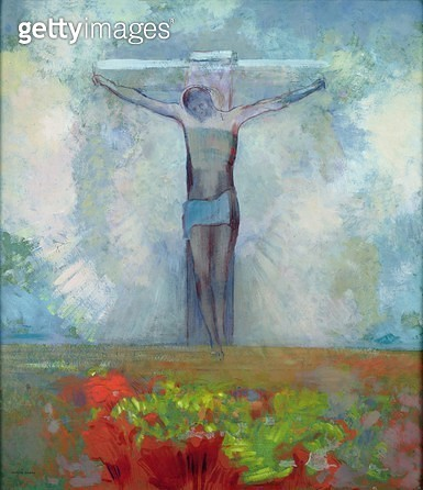 <b>Title</b> : The Crucifixion, c.1910 (oil on card)<br><b>Medium</b> : oil on card<br><b>Location</b> : Musee d'Orsay, Paris, France<br> - gettyimageskorea
